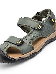 Men's Sandals Gladiator Cowhide Spring Summer Outdoor Casual Magic Tape Flat Heel Khaki Dark Brown Light Brown Flat