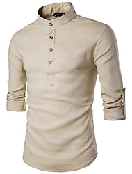 cheap -Men's Daily Casual All Seasons Shirt,Solid Stand Long Sleeves Linen Medium