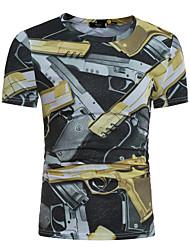 baratos -Homens Camiseta Estampado Algodão Decote Redondo