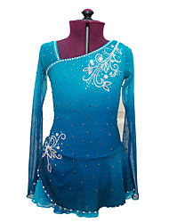 Figure Skating Dress Women's Girls' Ice Skating Dress Azure Spandex Rhinestone High Elasticity Performance Skating Wear Handmade Ice