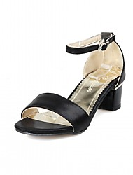 cheap -Women's Sandals Leatherette PU Summer Fall Walking Buckle Chunky Heel Gold White Black Blushing Pink 1in-1 3/4in