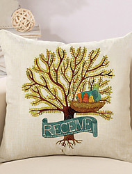 1 Pcs Receive Tree Of Life Pattern Pillow Case Linen Cushion Cover 45*45Cm Pillow Cover