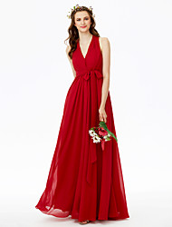 cheap -A-Line V Neck Floor Length Chiffon Bridesmaid Dress with Bow(s) Sashes / Ribbons Pleats Criss Cross by LAN TING BRIDE®