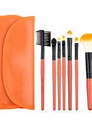 7pcs Orange Makeup Brush Set Blush Brush Eyeshadow Brush Eyeliner Brush Eyelash Brush dyeing Brush Powder Brush Sponge Applicator Synthetic Hair
