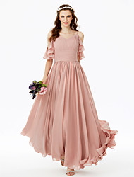 cheap -A-Line Spaghetti Straps Floor Length Chiffon Bridesmaid Dress with Bow(s) Sash / Ribbon Pleats Ruched by LAN TING BRIDE®