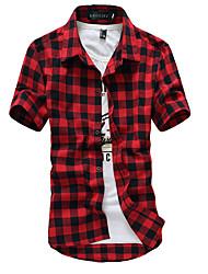 cheap -Men's Chinoiserie Cotton Shirt - Check Classic Collar