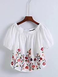 T-shirt Da donna Sensuale Semplice Moda città Estate,Fantasia floreale Ricamato A barca Cotone Mezze maniche Sottile Medio spessore