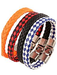 Недорогие -Муж. Кожаные браслеты - Кожа Природа, Мода Браслеты Оранжевый / Красный / Синий Назначение Особые случаи Подарок Спорт
