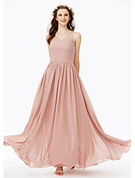 cheap -A-Line V Neck Floor Length Chiffon Bridesmaid Dress with Beading Pleats Ruched Criss Cross by LAN TING BRIDE®
