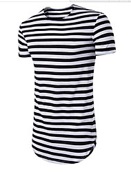 cheap -Men's Cotton T-shirt - Striped Round Neck / Please choose one size larger according to your normal size. / Short Sleeve