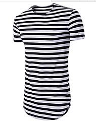 cheap -Men's Cotton T-shirt - Striped Round Neck