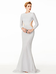 Mermaid / Trumpet Jewel Neck Sweep / Brush Train Roman Knit Formal Evening Dress with Pleats by TS Couture®