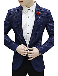 Men's Casual/Daily Work Party Vintage Simple Street chic Spring Fall Blazer,Color Block Solid Shirt Collar Long Sleeve RegularCotton