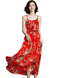 Feminino balanço Vestido,Para Noite Simples Sofisticado Estampado Com Alças Longo Sem Manga Raiom Poliéster Todas as Estações Cintura Alta