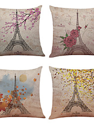 "Set of 4 Paris Eiffel Tower Linen Home Office Sofa Square Decorative Pillowcases (18""*18"")"