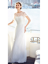 cheap -A-Line Illusion Neckline Floor Length Lace Tulle Wedding Dress with Lace Draped by LAN TING BRIDE®