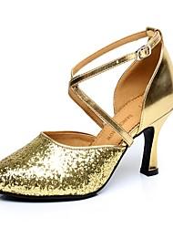 """Women's Latin Paillette Heel Indoor Sequin Buckle Cuban Heel Gold 2"""" - 2 3/4"""" Non Customizable"""