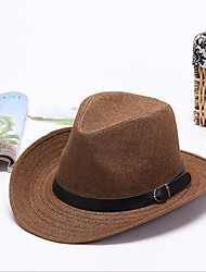 Straw Hat Sun Hat Summer Folding Cowboy Outdoor Tourism Beach Men's Wide Brim Hat Peaked Cap