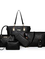 economico -Donna Sacchetti PU (Poliuretano) sacchetto regola Set di borsa da 6 pezzi per Per tutte le stagioni Blu Bianco Nero Rosso Fucsia