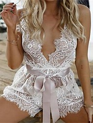 cheap -Women's Ultra Sexy Nightwear Solid-Thin Translucent Lace White