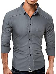 baratos -Homens Camisa Social Sólido Algodão