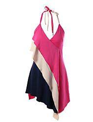 Women's Holiday Street chic Chiffon Dress,Color Block Halter Above Knee Sleeveless Polyester Summer Mid Rise Inelastic Medium