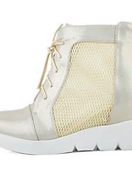Feminino Botas Conforto Sapatos clube Tule Microfibra Estações Cruzadas Verão Diário Caminhada Conforto Sapatos clube Ziper Cadarço