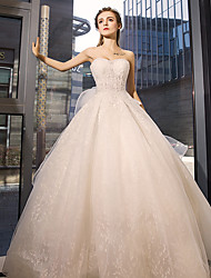 cheap -Ball Gown Jewel Neck Floor Length Tulle Wedding Dress with Crystal by Yuanfeishani
