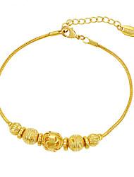 Luxury 24K Gold Plated Buddha Beads Pattern Chain Bracelet Jewelry Gift