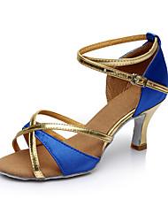 Personalizzabile Da donna Balli latino-americani Raso Sandali Per interni Tacco su misura Blu