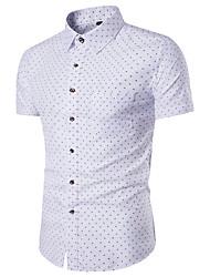 Недорогие -Для мужчин На каждый день Лето Рубашка Рубашечный воротник,Простое Геометрический принт С короткими рукавами,Полиэстер