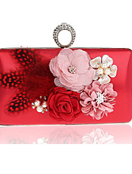 Women Bags All Seasons PVC Polyester Evening Bag Flower for Wedding Event/Party Formal Black Silver Red Rose Red Amethyst