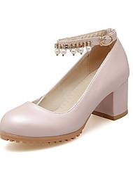 Women's Heels Comfort Light Soles Leatherette Summer Fall Dress Office & Career Comfort Light Soles Beading Buckle Chunky HeelWhite Blue