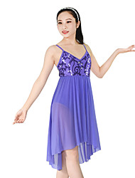 cheap -Ballet Dresses Women's Performance Polyester Nylon Spandex Sequined Sequin Draping Ruffles Sleeveless Natural Dress Headwear