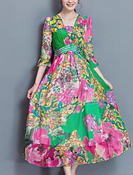 cheap -Women's Boho Silk Chiffon Dress Print High Rise Maxi V Neck