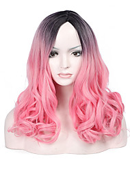 cheap -Fashion Black To Pink Color Short Wave Woman's Synthetic Hair Wig for Party and Daily Life