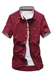 Masculino Camisa Social Casual SimplesSólido Algodão Colarinho de Camisa Manga Curta
