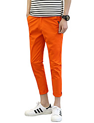 Homme Mignon simple Street Chic Chinoiserie Taille Basse Micro-élastique Culotte Chino Pantalon,Mince Couleur unie