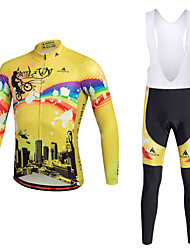 cheap -Miloto Men's Cycling Jersey with Bib Tights - Yellow Bike Clothing Suits Polyester Lycra