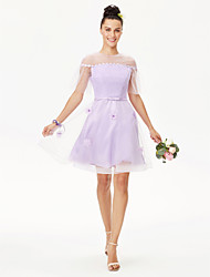 Princess Jewel Neck Knee Length Lace Tulle Bridesmaid Dress with Pearl by Yaying