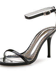 Women's Sandals Club Shoes Leather Synthetic Spring Summer Wedding Party & Evening Dress Stiletto Heel Black White 3in-3 3/4in