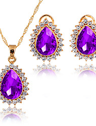 cheap -Women's AAA Cubic Zirconia Jewelry Set - Cubic Zirconia Drop Classic, Simple Style, Fashion Include Necklace / Bridal Jewelry Sets Black