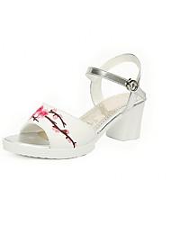 Women's Heels  PU Summer Wedding Party Office/Career  Flower Chunky Heel Pool Fuchsia Gold 1in-1 3/4in