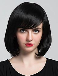 economico -Capelli neri bobo parzialmente frangia parrucca capelli parrucche