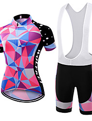 abordables -WOLFKEI Maillot et Cuissard à Bretelles de Cyclisme Femme Manches Courtes Vélo Ensemble de Vêtements Séchage rapide Résistant à la