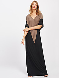 Women's Beach Going out Casual/Daily Simple Street chic Tunic Dress,Patchwork V-neck Maxi Half Sleeve Polyester Spandex All SeasonsHigh