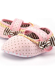 Baby Kids' Loafers & Slip-Ons First Walkers Fabric Summer Fall Party & Evening Dress Casual Bowknot Ruffles Ruched Polka Dot Flat HeelBlushing