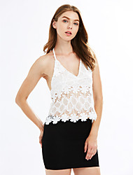 cheap -Women's Beach Tank Top - Solid Colored Lace V Neck