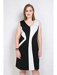 cheap -Really Love Women's Plus Size Vintage Street chic Shift Sheath Black and White Dress - Color Block Patchwork V Neck