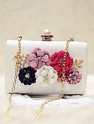 preiswerte -Damen Taschen PU Abendtasche Blume für Veranstaltung / Fest Verabredung Party & Festivität Ganzjährig Weiß Schwarz Blasse Rosa Aprikose